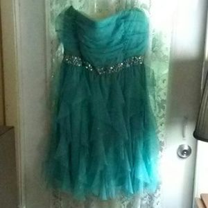 DEB GOWN TIERED WITH RHINESTONES